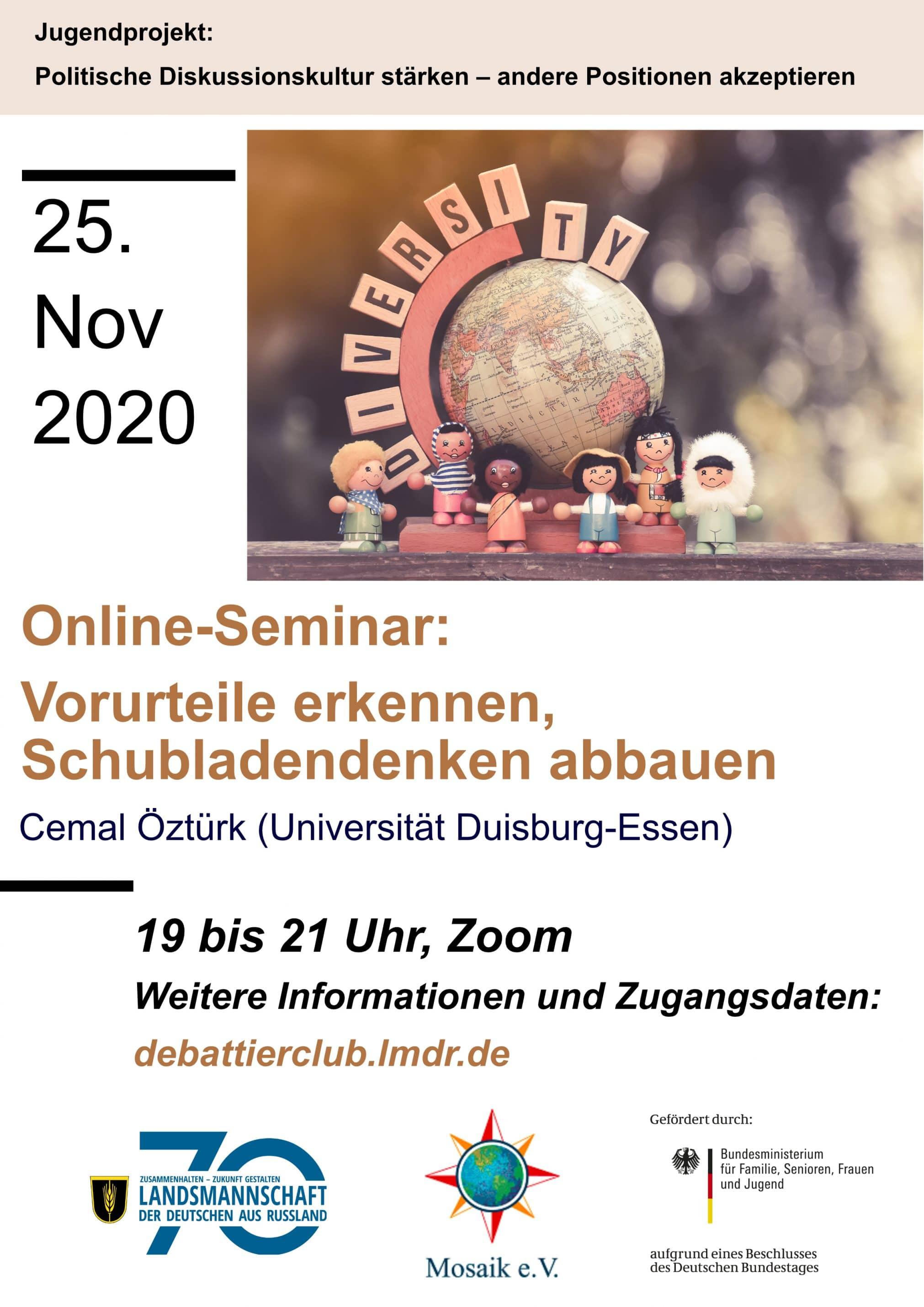 """Online-Seminar """"Vorurteile erkennen, Schubladendenken abbauen"""""""